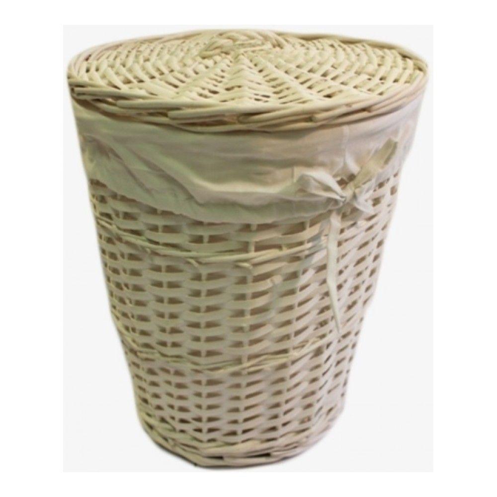 Корзина для белья с подкладкой (лоза), 31см, цвет белый изображение №0