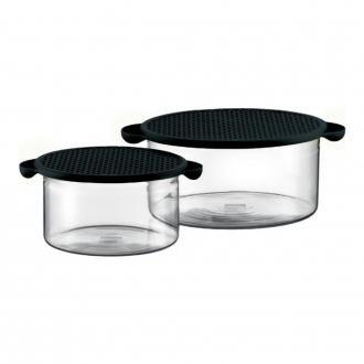 Набор емкостей для запекания с крышками из термосиликона (2 штуки) BODUM Hot Pot, 2.5л, чёрный DOMOS 2109.000