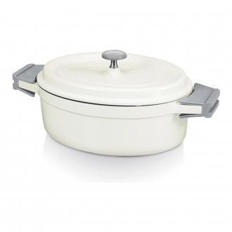Кастрюля овальная с крышкой с керамическим покрытием Bekadur Ceramica BEKA Cook'On, 3.5л, белый DOMOS 4149.000