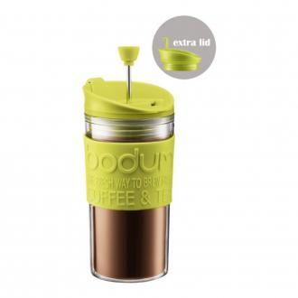 Кофейник френч-пресс дорожный пластиковый (с дополнительной крышкой) BODUM Travel, 0.35л, зеленый DOMOS 1089.000