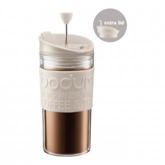 Кофейник френч-пресс дорожный пластиковый (с дополнительной крышкой) BODUM Travel, 0.35л, белый DOMOS 1089.000