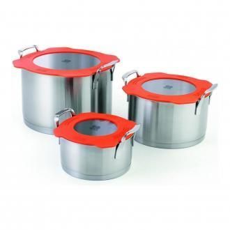 Набор кастрюль Beka Nest 3 штуки 1.2 л / 3 л / 6 л, матовый хром DOMOS 10759.000
