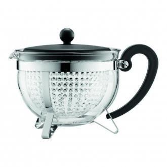 Чайник заварочный сито-фильтр Bodum Chambord (прозрачный фильтр), 1л, чёрный DOMOS 1935.000