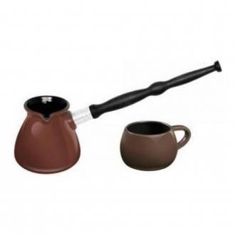 Набор турка керамическая 500мл + чашка для кофе 250мл, шоколад DOMOS 1419.000