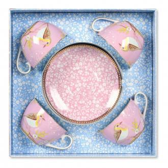 Набор Чашка для каппучино и Блюдце PiP Studio 4 штуки, 0.28л, розовый DOMOS 2719.000