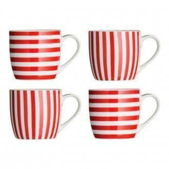 Набор кружек в полоску 4 штуки Premier Housewares, 0.3л, красный DOMOS 615.000